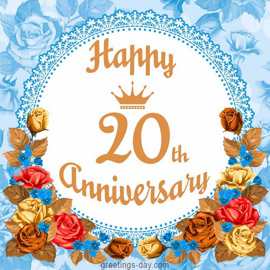 Happy 20th Anniversary Free Greetings And Wishes