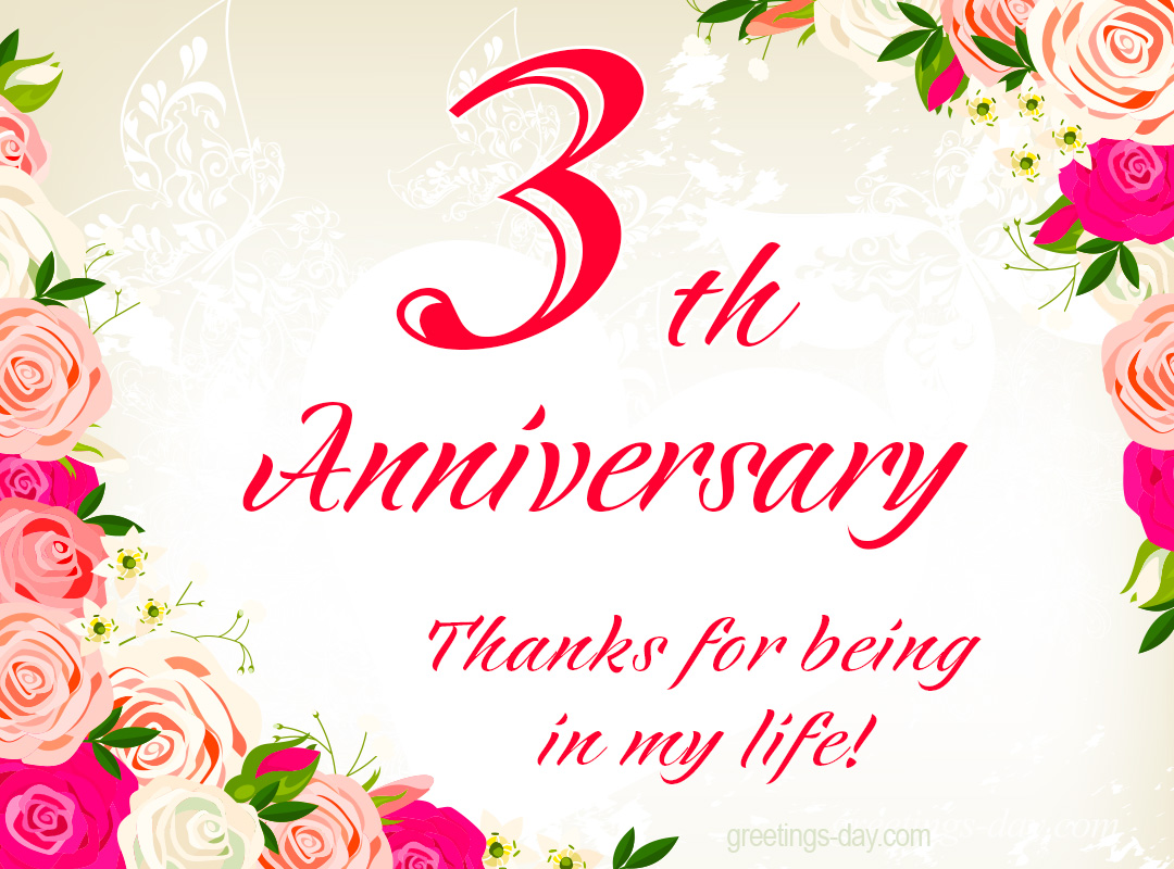 3th Anniversary – Free Ecards , Pics & Wishes.