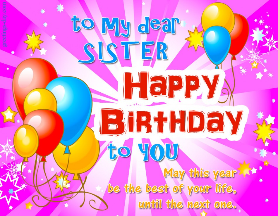 Happy Birthday Sister Ecards Pictures GIFs – Happy Birthday to My Sister Cards