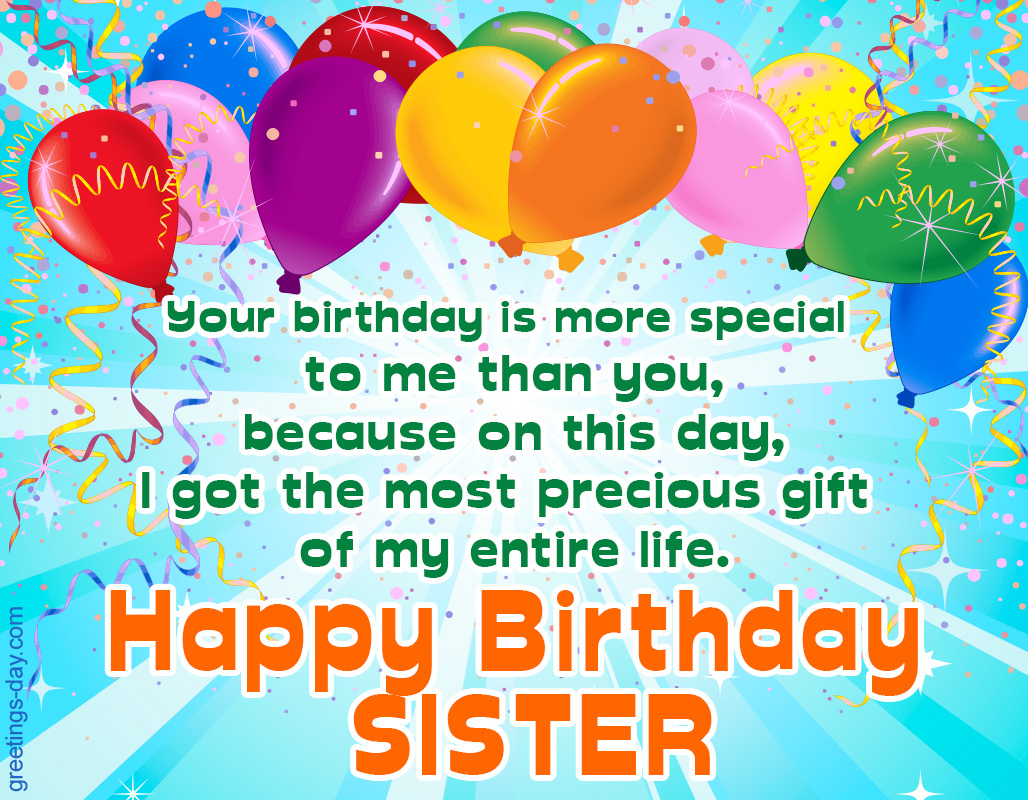 Happy Birthday Sister greeting Ecards