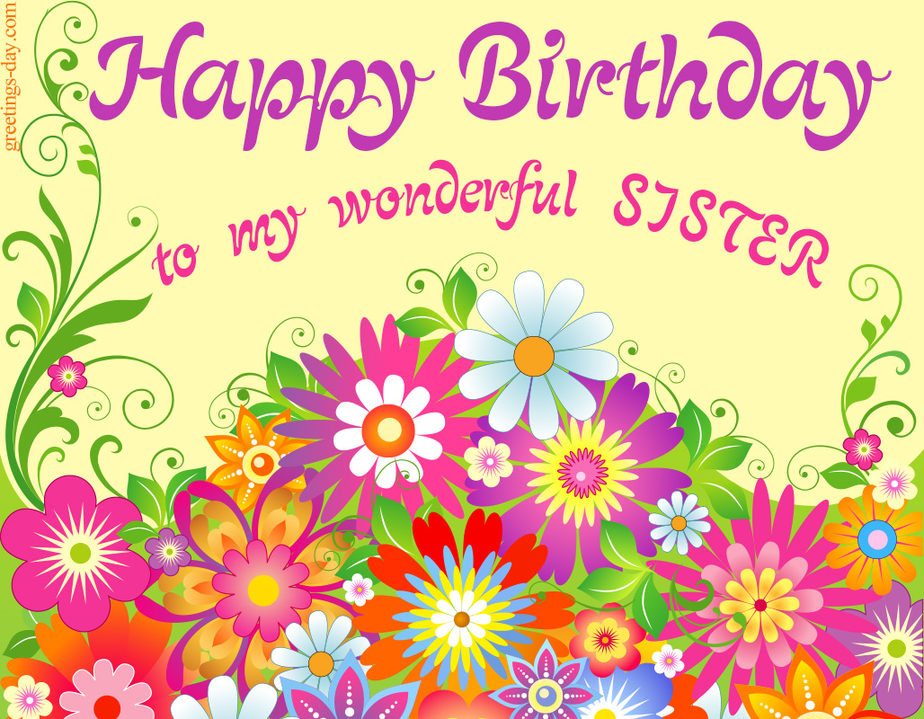 Happy Birthday Sister Free Freeting Online Ecard